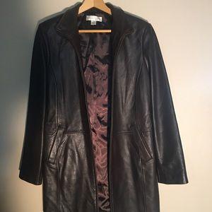Genuine Leather 3/4 deep brown length jacket.